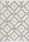 Shag Plush Tassel Moroccan Diamond Cream/Grey 4' x 6' Area Rug