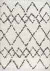 Shag Plush Tassel Moroccan Tribal Geometric Trellis Cream/Grey 5' x 8' Area Rug