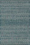 Moroccan Geometric Textured Weave Indoor/Outdoor Teal/Gray Area Rug