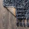 Shag Plush Tassel Denim Blue Runner Rug