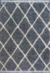 Shag Plush Tassel Moroccan Geometric Trellis Denim Blue/Cream Area Rug