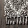 Shag Plush Tassel Moroccan Tribal Geometric Trellis Grey/Cream Area Rug