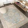 Floral Medallion Chambray Blue/Ivory Area Rug