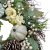 Green and White Pumpkins and Berries Fall Harvest Artificial Wreath - Unlit