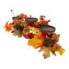 Orange Fall Harvest Leaves and Pumpkins Candle Holder