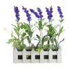 Faux Lavender Plant in White Picket Fence Container