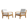 Outdoor Wooden Club Chairs with Beige Cushions Set of 2