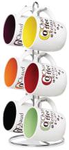 Mug Set with Stand, Set of 6 Mugs