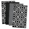 Lattice Black Dish Towel Set of 4