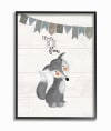 Grayscale Party Fox Framed Giclee Texturized Art