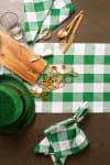Picnic Plaid Green Cotton Table Runner 14x108