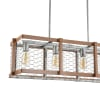 Linear 4-Light Adjustable Iron Rustic Industrial LED Pendant, Brown/Silver