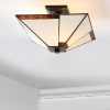 Tiffany-Style Glass/Metal LED Semi-Flush Mount, Ivory/Black