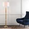 Metal/Marble LED Floor Lamp, Brass Gold/White