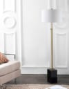 Adjustable Height LED Floor Lamp, Brass/Black