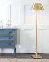 Metal LED Floor Lamp, Brushed Brass