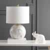 Faux Marble Resin LED Table Lamp, White/Brass Gold