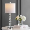 Modern Stacked Crystal/Metal LED Table Lamp, Chrome/Clear