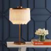 Fringed/Metal LED Table Lamp, Gold/White