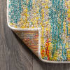 Contemporary Modern Abstract Vintage Waterfall Blue/Cream/Yellow 8' x 10' Area Rug