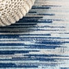 Modern Half-Stripe Blue/Cream 4' x 6' Area Rug