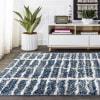 Stacked Grid Shag Indigo Blue/Ivory  4' x 6' Area Rug