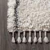Shag Plush Tassel Moroccan Geometric Trellis Cream/Grey  5' x 8' Area Rug
