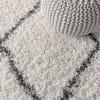 Shag Plush Tassel Moroccan Tribal Geometric Trellis Cream/Grey 4' x 6' Area Rug