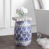 Happy Hearts Chinoiserie Ceramic Drum Garden Stool, Blue/White