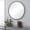 Rustic Steel Frame Round Wall Mirror