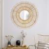 Handmade Boho Rattan Sunburst Wall Mirror