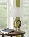 Hearts Hand Blown Art Glass Sculpture Table Lamp