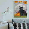 Black Cat and Full Moon Autumn Leaves Pumpkins Super Wall Art