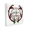 Rustic Peace on Earth Holiday Plaid Antlers Wall Art