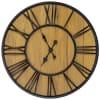 Oversized Wall Clock - Black/Wood Veneer