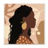 Curly Hair Lemon Citrus Earring Female Portrait Wood Wall Art, 12 x 12