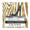 Fashion High Heel Bookstack Glam Gold Zebra Print Wood Wall Art, 12 x 12