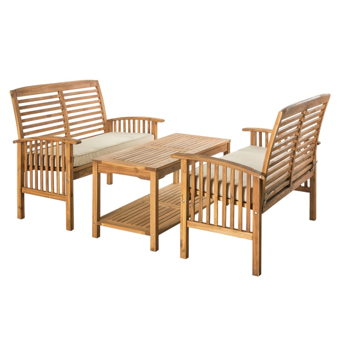 Modern Acacia Wood 3-Piece Outdoor Loveseat Chat Set