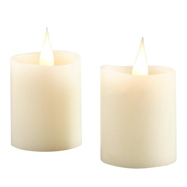 LED 3D Flame Ivory Votive Candle Set of 2
