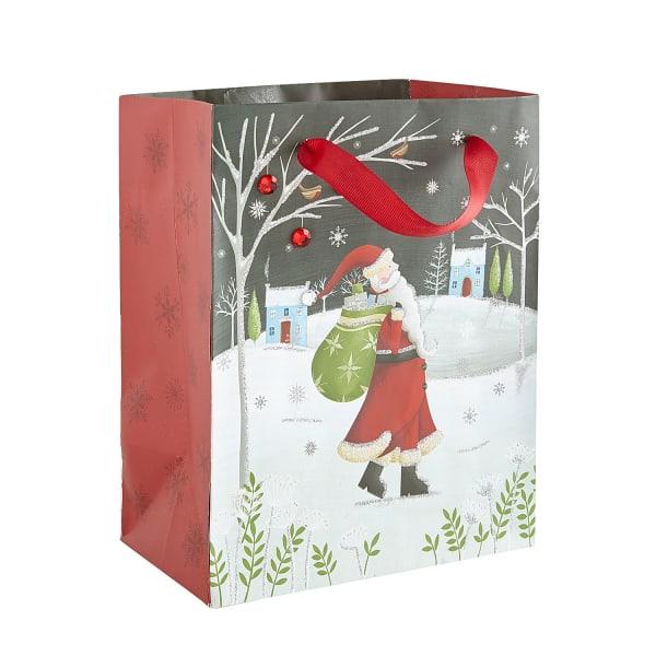 Snowy Santa Holiday Gift Bag