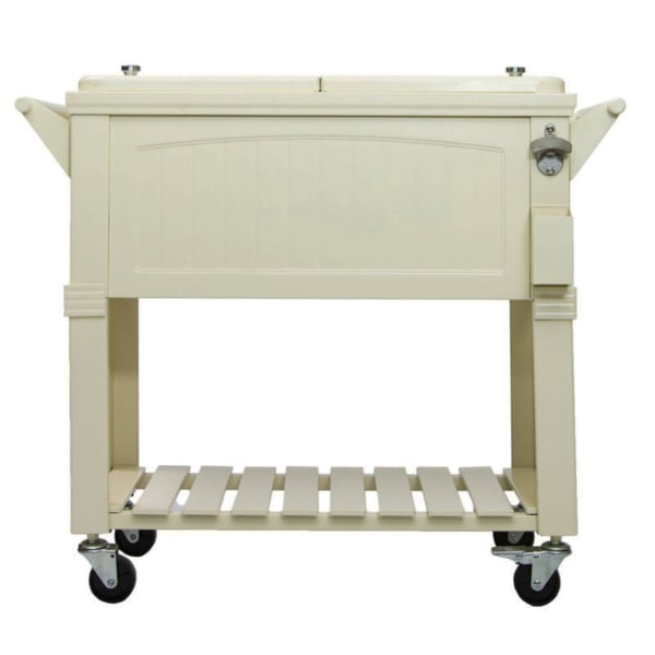 Cream Patio Cooler Cart with Shelf