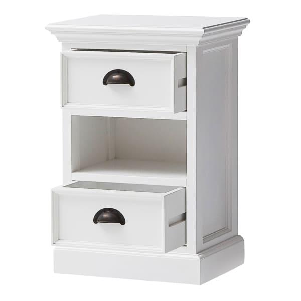 Halifax White Bedside Chest with Storage Basket