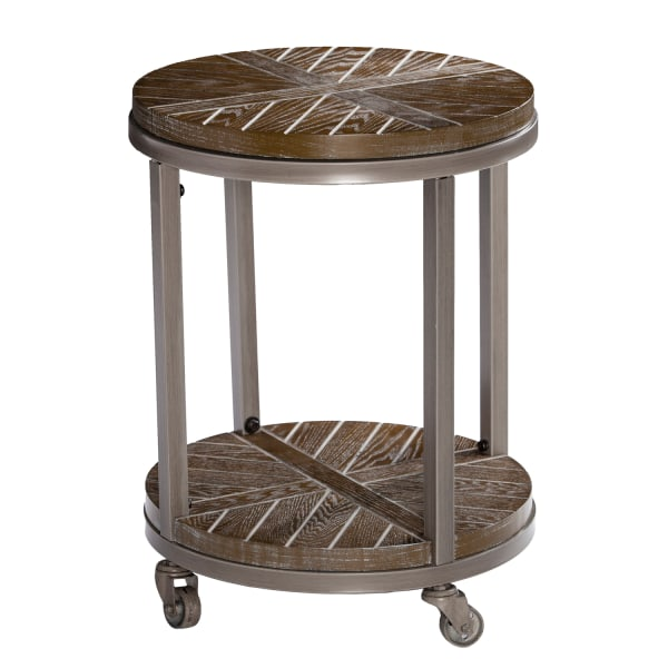Rustic Brown Rolling End Table