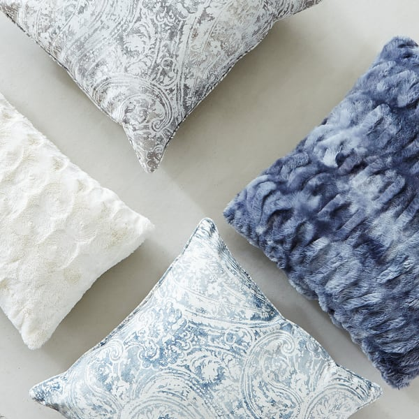 Fuzzy Ivory Lumbar Pillow