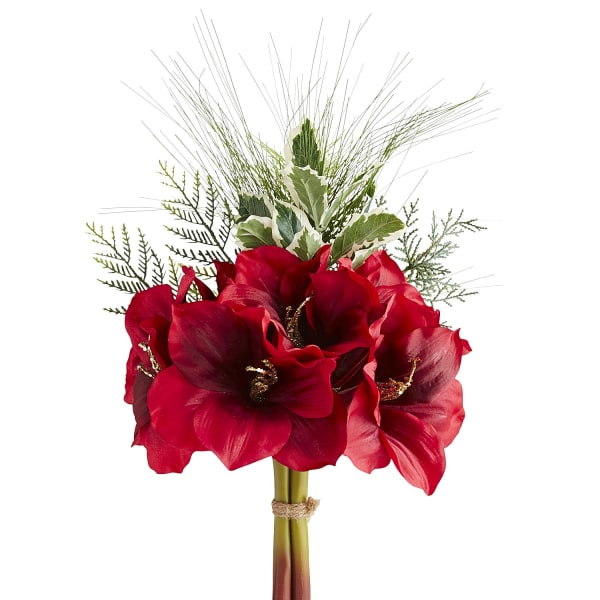 Faux Amaryllis & Holly Bouquet