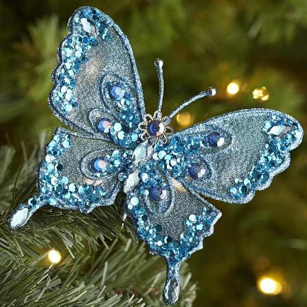 Beaded Butterfly Clip Ornament - Turquoise