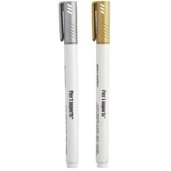 Gold & Silver Glass Marker Set of 2