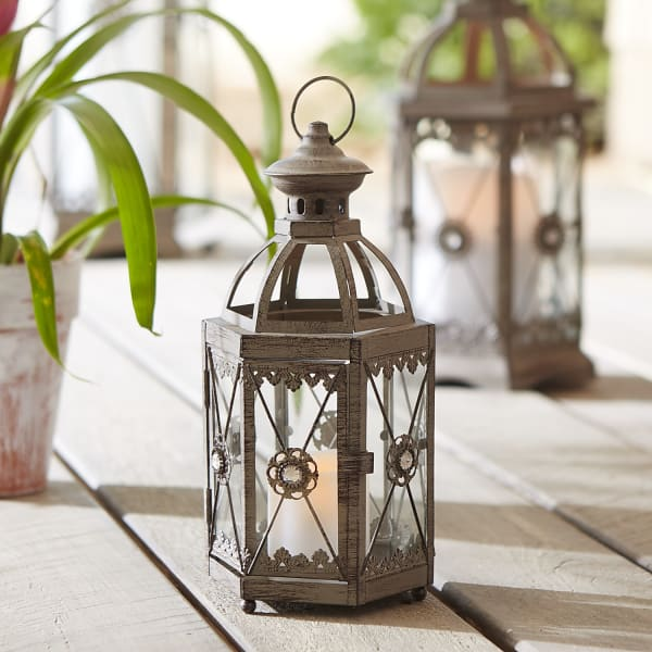 Gray Jeweled Hexagon Mini Lantern