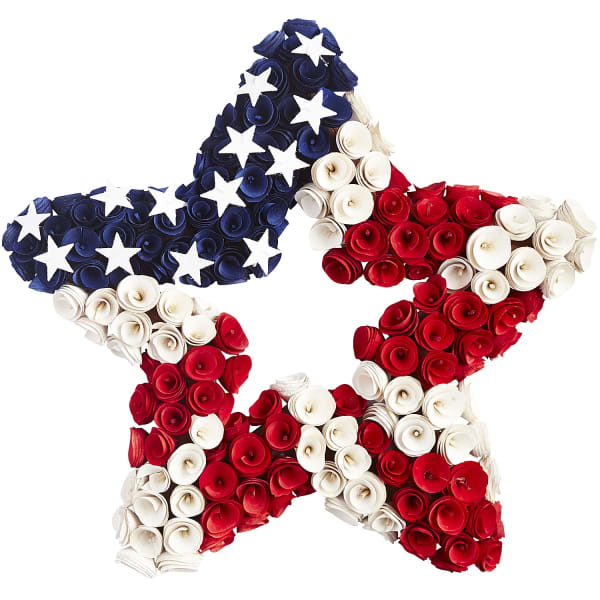 Patriotic Star Wood Curl Wreath