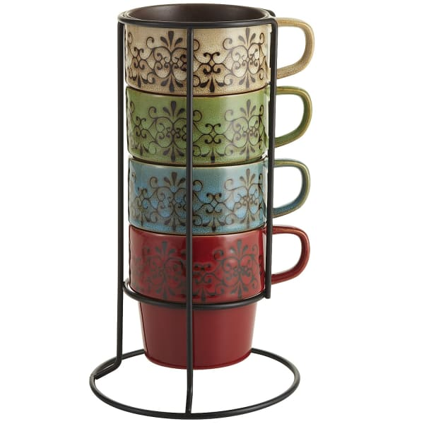 Scroll Stacking Mugs Set of 4 with Stand